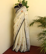 Load image into Gallery viewer, Rich Ivory linen zari saree