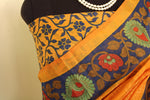 Load image into Gallery viewer, Sunset Yellow kalamkari Soft Brasso Saree