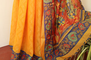 Sunset Yellow kalamkari Soft Brasso Saree