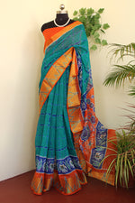 Load image into Gallery viewer, Greenish blue elegant ikkat print saree