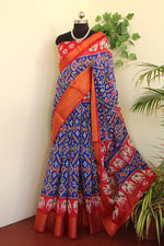 Load image into Gallery viewer, Pepsi blue ikkat print brasso saree