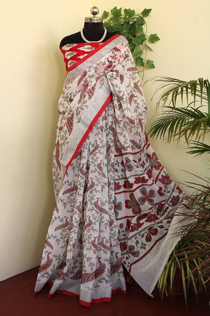 White all over kalamakri print cotton jute saree