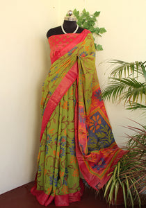 Dull Leaf green floral Soft brasso saree