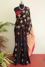 Load image into Gallery viewer, Black & red Soft Silk Checkered Saree
