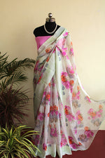 Load image into Gallery viewer, Pastel Green Floral Kota Organza saree