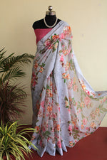 Load image into Gallery viewer, Grey Floral Kota Organza saree