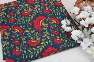 Cotton-fabric-floral-Blue & red floral