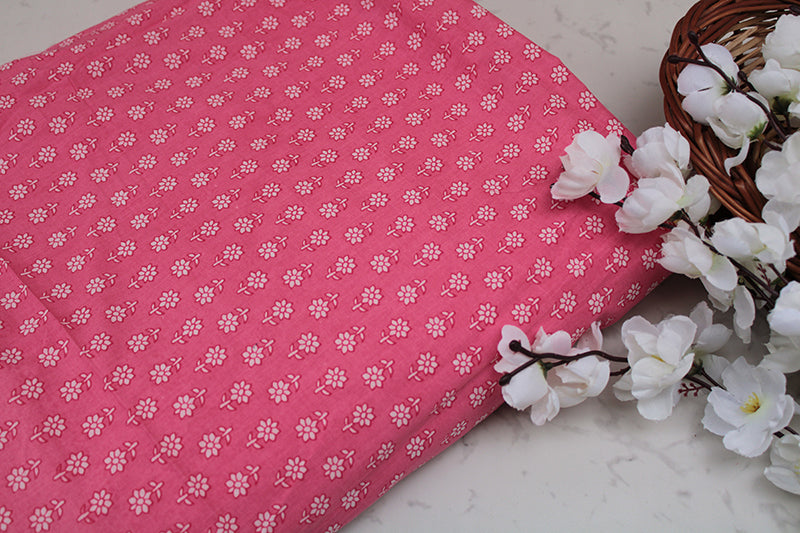 Cotton-fabric-floral-pastel pink tiny flower