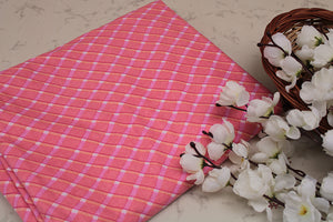 Cotton-fabric-floral-pink crisscross checks