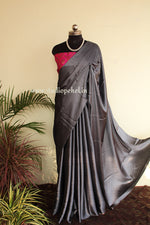 Load image into Gallery viewer, Grey exclusive satin saree