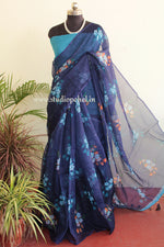 Load image into Gallery viewer, Kota royal blue floral saree