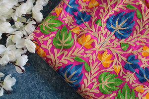 Rani pink raw silk heavy embroidered fabric