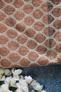 Ivory & copper brocade fabric