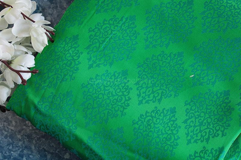 Sea green & blue soft crepe embossed fabric