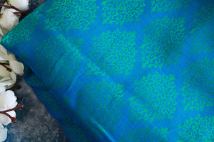 Deep blue soft crepe embossed fabric