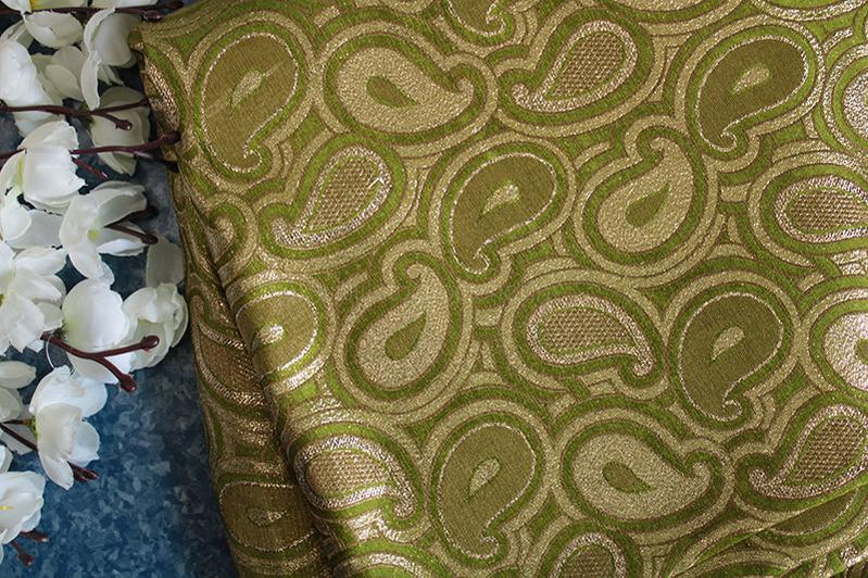 Pale green paisley heavy brocade