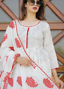 White Red Kurti, Pant and Dupatta set with beautiful prints
