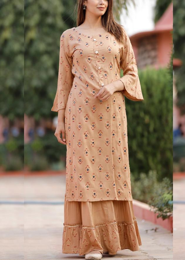 Light beige colour kurti and sharara with embroidery and prints - STUDIO PEHEL