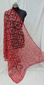Red Lucknowi Embroidered Dupatta - STUDIO PEHEL