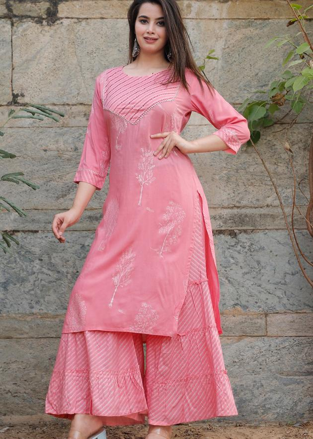 Pink kurti and palazzo with prints, gota lace and handwork - STUDIO PEHEL