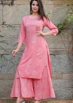Load image into Gallery viewer, Pink kurti and palazzo with prints, gota lace and handwork