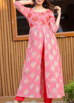 Load image into Gallery viewer, Pink kurti pant with embroidery and floral prints - STUDIO PEHEL