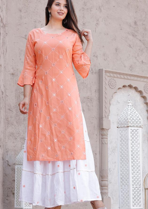 Pink kurti with foil mirror work and skirt with embroidery - STUDIO PEHEL