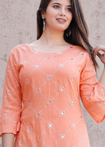 Load image into Gallery viewer, Pink kurti with foil mirror work and skirt with embroidery - STUDIO PEHEL
