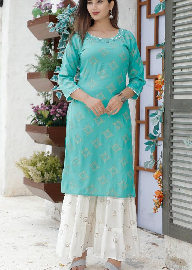 Printed kurti with multi-colour gota lace and white sharara