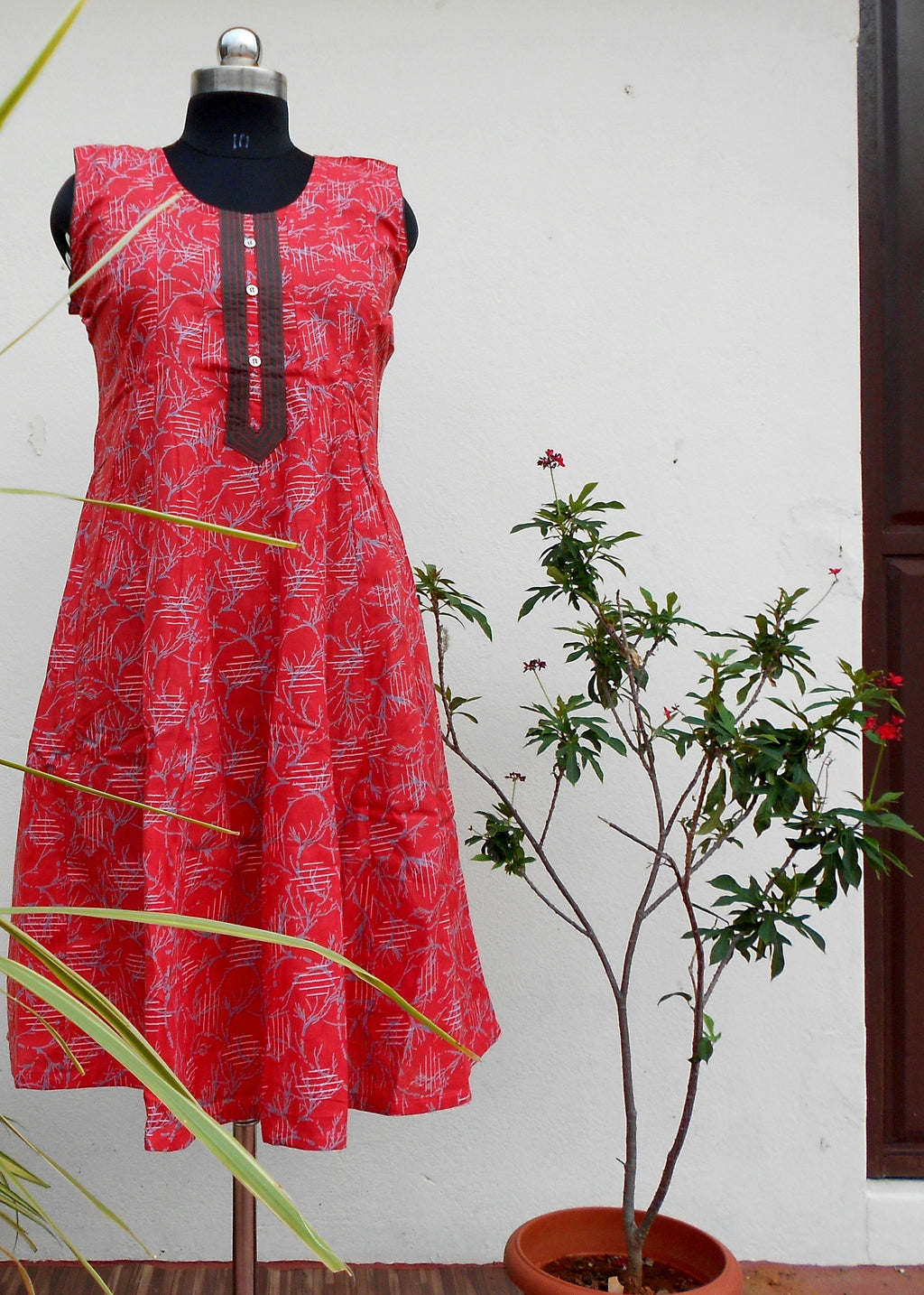 Aastha Rosy red printed cotton kurti - STUDIO PEHEL