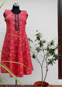Aastha Rosy red printed cotton kurti