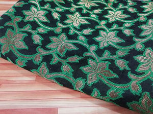 Black /Green floral jaquard fabric - STUDIO PEHEL