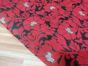 Black/red floral brocade fabric - STUDIO PEHEL
