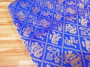 Pepsi blue indian print brocade fabric - STUDIO PEHEL