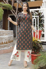 Load image into Gallery viewer, Green straight kurti set with embroidery
