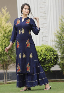 Blue kurti and sharara with heavy embroidery work