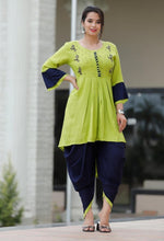 Load image into Gallery viewer, Green kurti and black dhoti with beautiful handwork