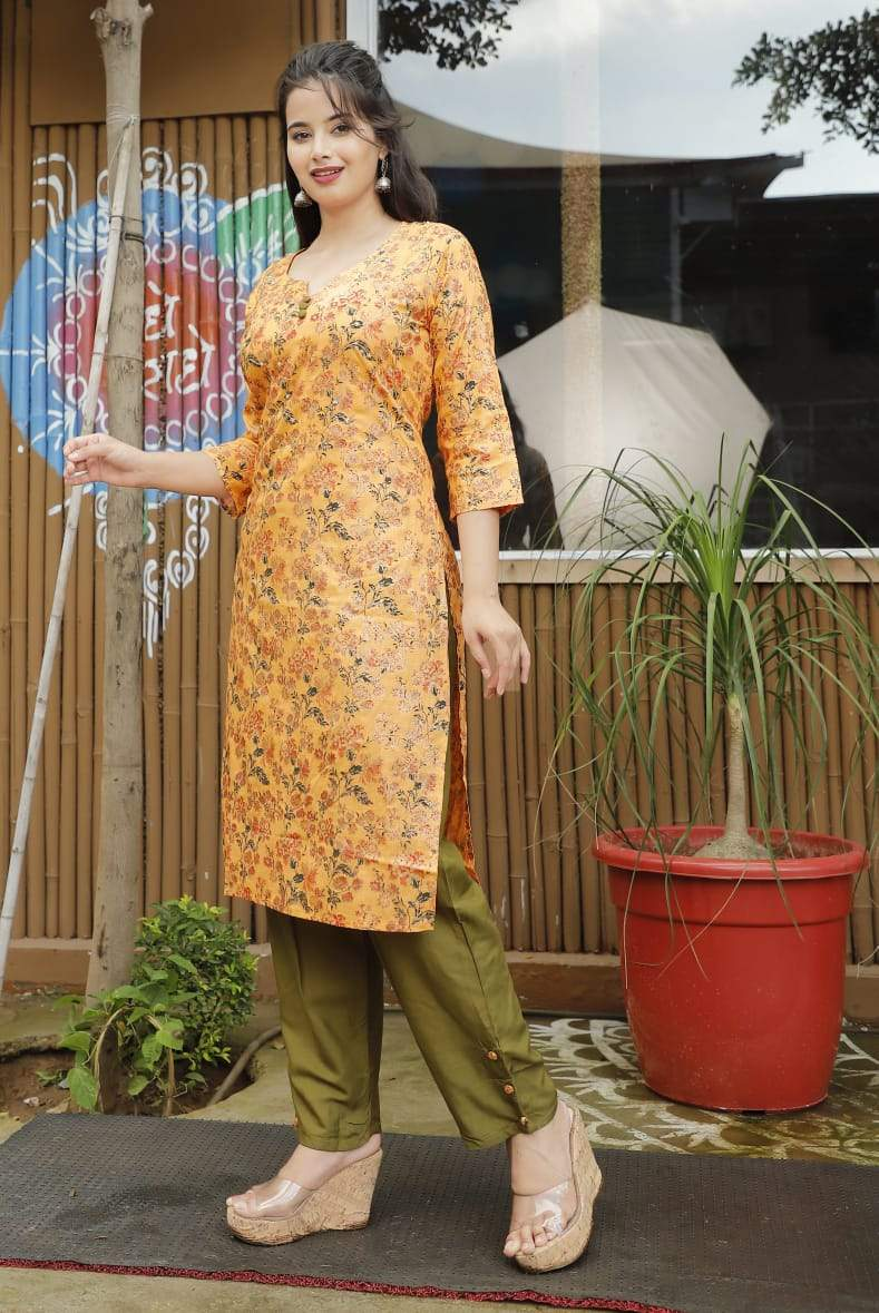 Kurti pant set with heavy adda work and designer button detailing
