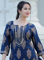 Load image into Gallery viewer, Blue kurti and skirt with heavy gota detailing - STUDIO PEHEL