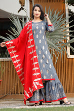 Load image into Gallery viewer, Grey rayon kurti with sharara