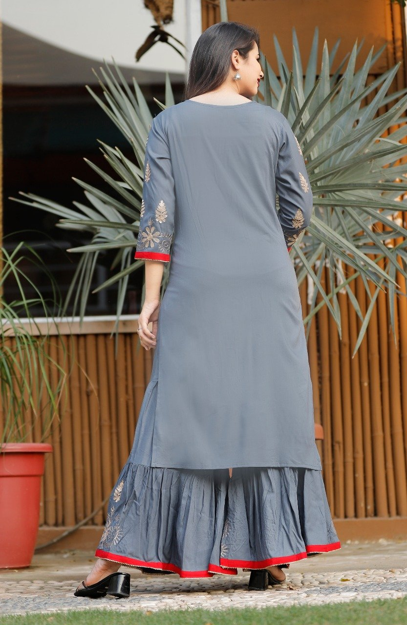 Grey rayon kurti with sharara