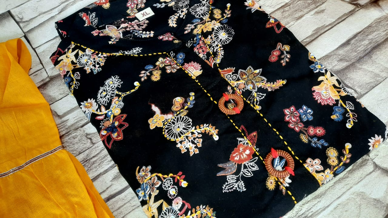 Black floral Foil mirror embroidery work, printed kurti with sharara