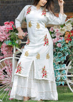 Load image into Gallery viewer, White kurti and sharara with heavy embroidery work - STUDIO PEHEL