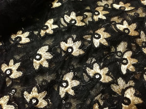 Laknaavi black embroidered heavy sequence fabric - STUDIO PEHEL