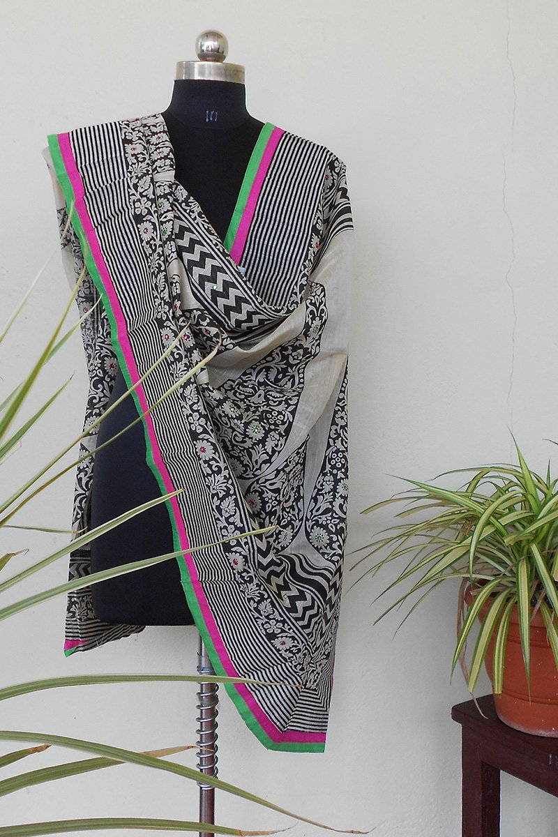 Raw silk Handpainted dupatta - STUDIO PEHEL