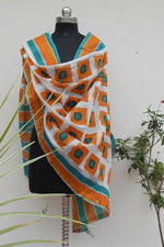 Load image into Gallery viewer, Mustrad & Teal handpainted dupatta - STUDIO PEHEL