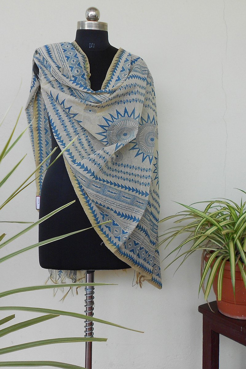 Ivory & powder blue jute dyed dupatta - STUDIO PEHEL