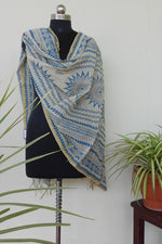 Load image into Gallery viewer, Ivory & powder blue jute dyed dupatta - STUDIO PEHEL