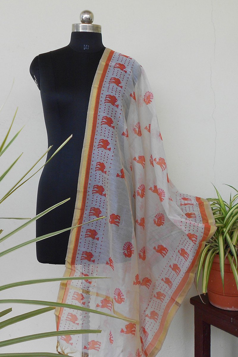 Ivory & Orange jute dyed dupatta - STUDIO PEHEL