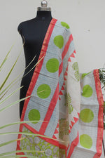 Load image into Gallery viewer, Ivory Handpainted chanderi dupatta - STUDIO PEHEL